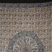 Handmade Cotton Kalamkari Mandala Block Print Curtain Drape Panel Earthen 46x88 Blue