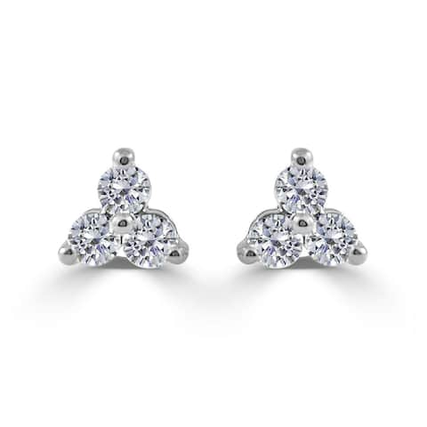 Diamond 3-Stone Cluster Earrings 14K White Gold 1/2 CT TDW by Joelle Collection