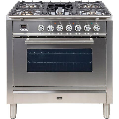 "36"" Professional Plus Series Freestanding Single Oven Dual Fuel Range with 5 Sealed Burners"