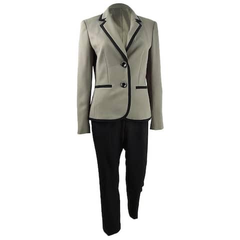 Le Suit Women's Contrast-Trim Jacquard-Jacket Pantsuit (4, Toffee/Black)
