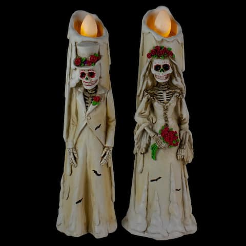 """12"""" Battery Operated Day Of The Dead Bride and Groom Candles With LED Lighting"""