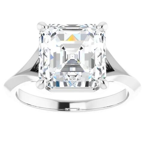 4Ct Moissanite Asscher Cut Engagement Solitaire Ring 14k White or Yellow Gold