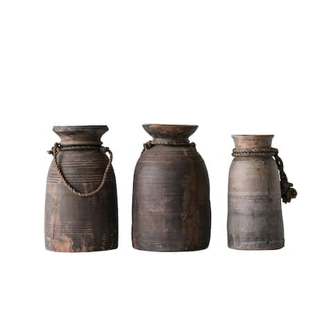 Large Found Decorative Wood Container with Rope (Each one will vary) - Grey