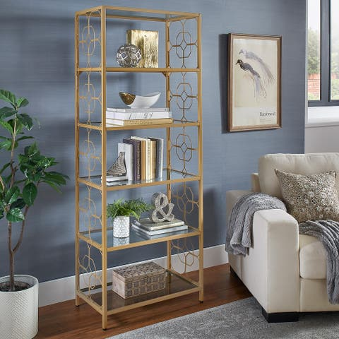 Elle Octagon Pattern Gold Metal and Glass Bookcase by iNSPIRE Q Bold