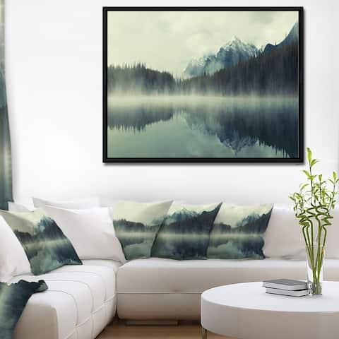 Designart 'Lake Herbert in Foggy Morning' Modern Seascape Framed Canvas Artwork Print