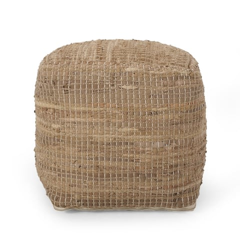 Tremont Boho Handcrafted Fabric Cube Pouf by Christopher Knight Home