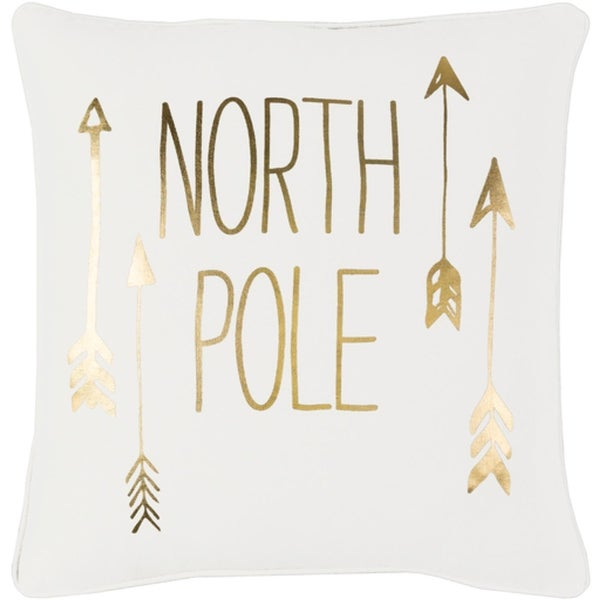 "18"" Snow White and Rich Gold Decorative ""NORTH POLE"" Holiday Throw Pillow –Down Filler"