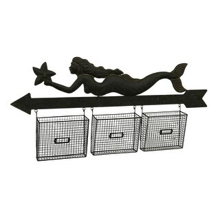 Mail Holder Mermaid & Arrow Wall Hanging w/3 Mesh File Storage Baskets