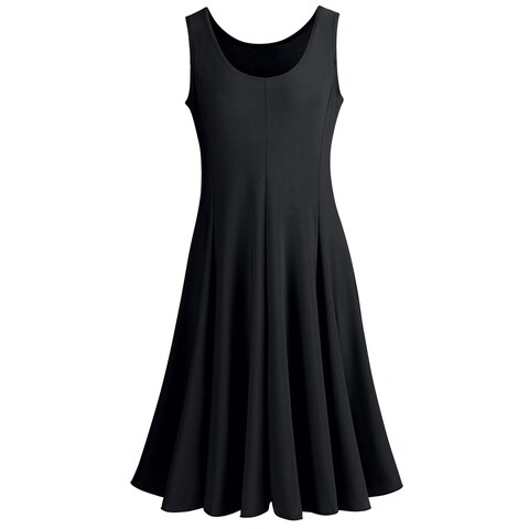 Catalog Classics Women's Sleeveless Tank-Top Dress -A Line Flared Hem Scoop Neck
