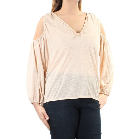 MAX STUDIO Womens Beige Cut Out Sheer Long Sleeve V Neck Top Size: L