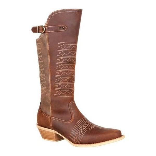 """Durango Boot Women's DRD0203 Belted Collar 14"""" Western Boot Brown Vintage Full Grain Leather/Synthetic"""