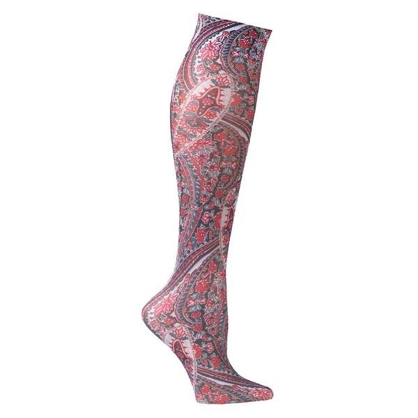 Celeste Stein Moderate Compression Knee High Stockings Wide Calf-Mauve Paisley - Medium
