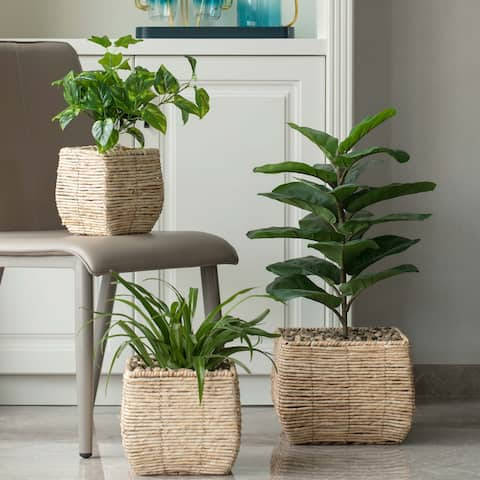Woven Square Flower Pot Planter with Leak-Proof Plastic Lining- Set of 3