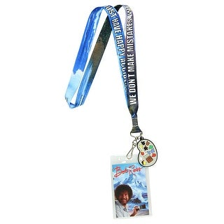 Bob Ross Lanyard Happy Accidents With Painting Charm And ID Holder - One Size Fits most
