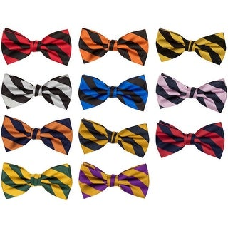 Jacob Alexander Stripe Woven Men's College Striped Pretied Bowtie - One size
