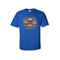 Men's T-Shirt Four Flowered Sugar Skulls Katrinas Skeleton Grim Reaper Tee - Thumbnail 7