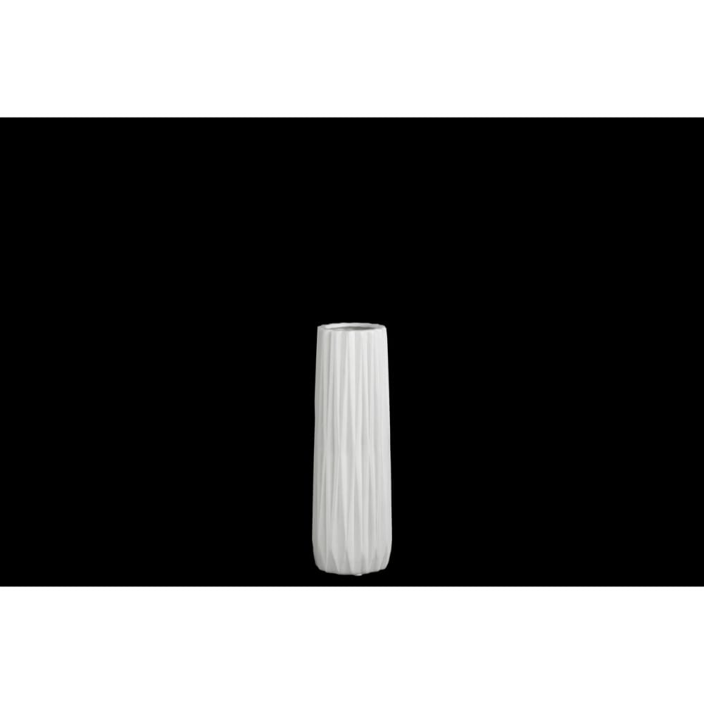 Elongated Ceramic Round Vase With Ribbed Pattern, Small, Matte White