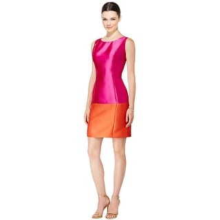 B Michael America Colorblock Sleeveless Satin Sheath Dress - 12