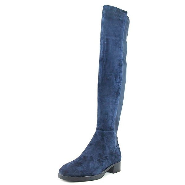 Tory Burch Caitlin Women Round Toe Suede Blue Over the Knee Boot