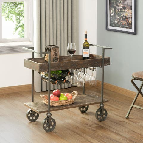 FirsTime & Co. Factory Row Industrial Farmhouse Wheeled Bar Cart - 30 x 15 x 32.5 in
