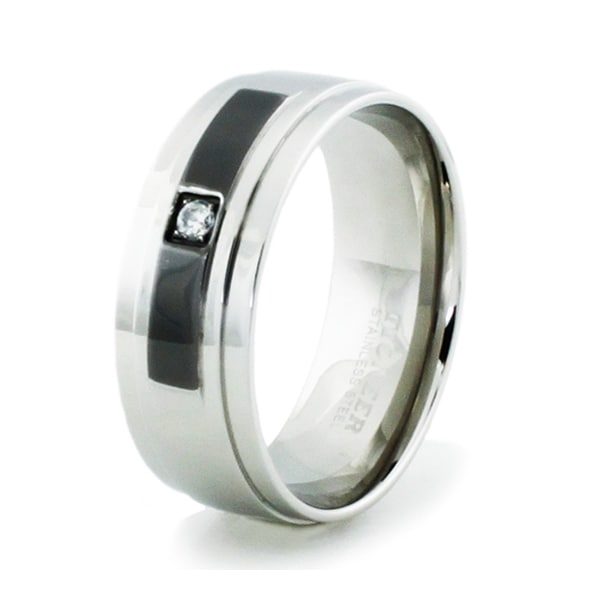 Stainless Steel High Polish Ring w/ Black Enamel Inlay & CZ
