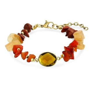 Bling Jewelry Gold Plated Synthetic Carnelian Chips Simulated Amber Bracelet 7.5in - Orange