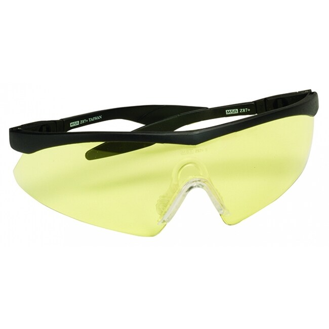 MSA Safety Works 10021280 Straight Temple Safety Glasses with Amber Lens