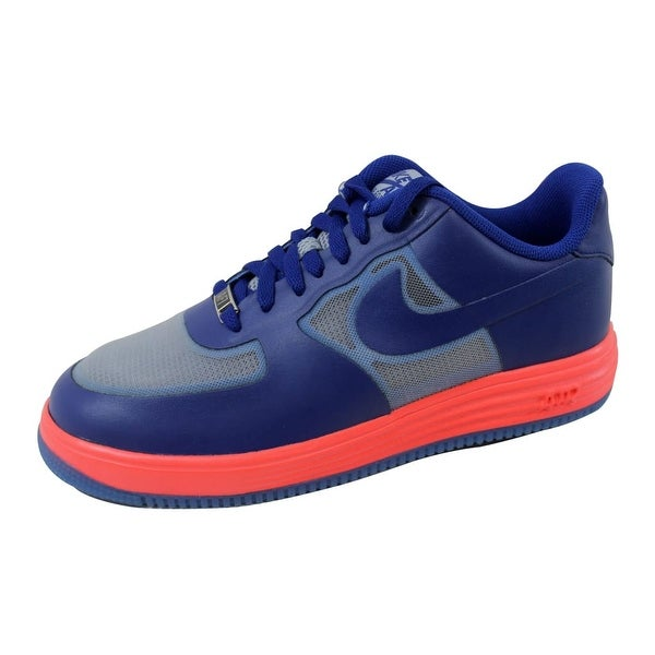 Nike Men's Lunar Force 1 Fuse Leather Wolf Grey/Deep Royal Blue-Atomic Red 599839-001
