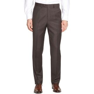 Ralph Lauren Total Comfort Wool Flat Front Dress Pants Dark Brown 40W x 29L - 40