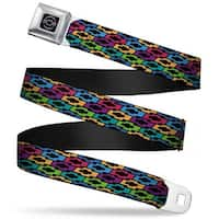 Chevy Bowties Black Multi Color Webbing Seatbelt Belt Fashion Belt