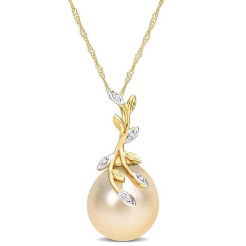 Miadora Golden South Sea Cultured Pearl & Diamond Accent Leaf Pendant in 14k Yellow Gold (12-12.5mm)