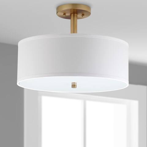 "Safavieh Lighting Clara 3-light Gold Ceiling Cotton Drum Light - 16""x16""x11.25"""