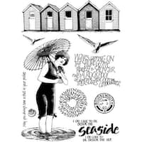 """Crafty Individuals Unmounted Rubber Stamp 4.75""""X7"""" Pkg-Beside The Sea"""