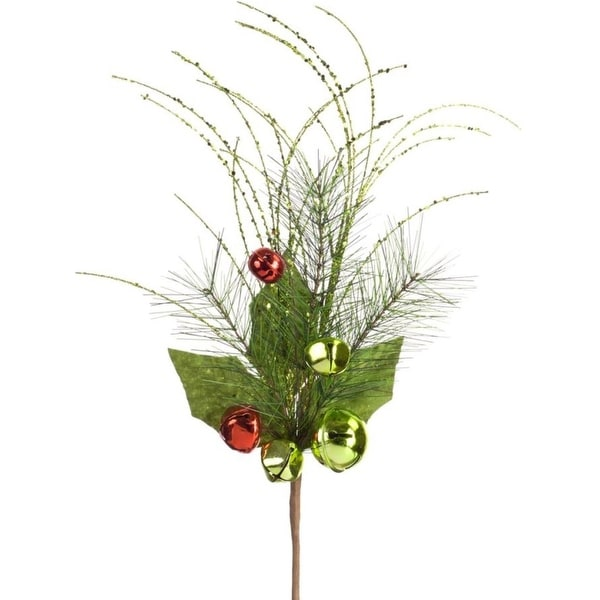 Pack of 12 Decorative Red and Green Pine with Bells Sprays