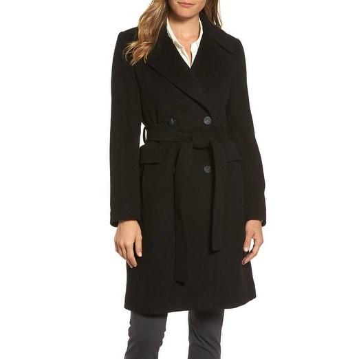 Diane von Furstenberg Black Wool Wrap Coat