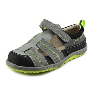 See Kai Run Christopher Youth Round Toe Leather Black Fisherman Sandal