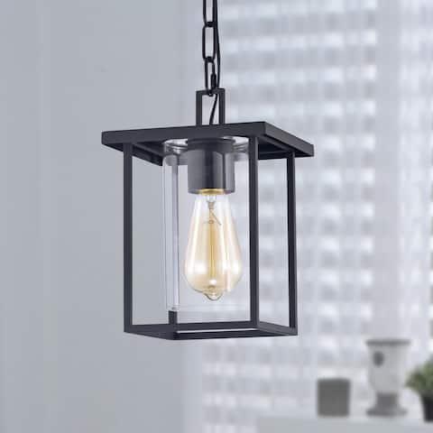 1-Light 7'' Black Painted Clear Glass Pendant Light
