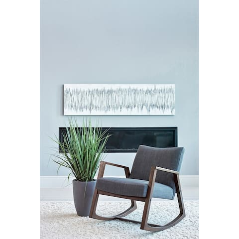 Lisette Grey Upholstered Rocking Chair with Wooden Arm