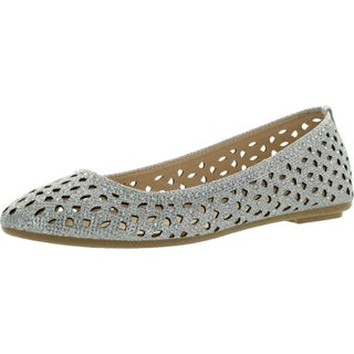 Bamboo Womens Quintus-80A Perforated Cut Out Sparkle Rhinestone Ballet Flat Dress Shoes (More options available)