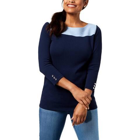 Karen Scott Womens Betty Pullover Top Knit Colorblock