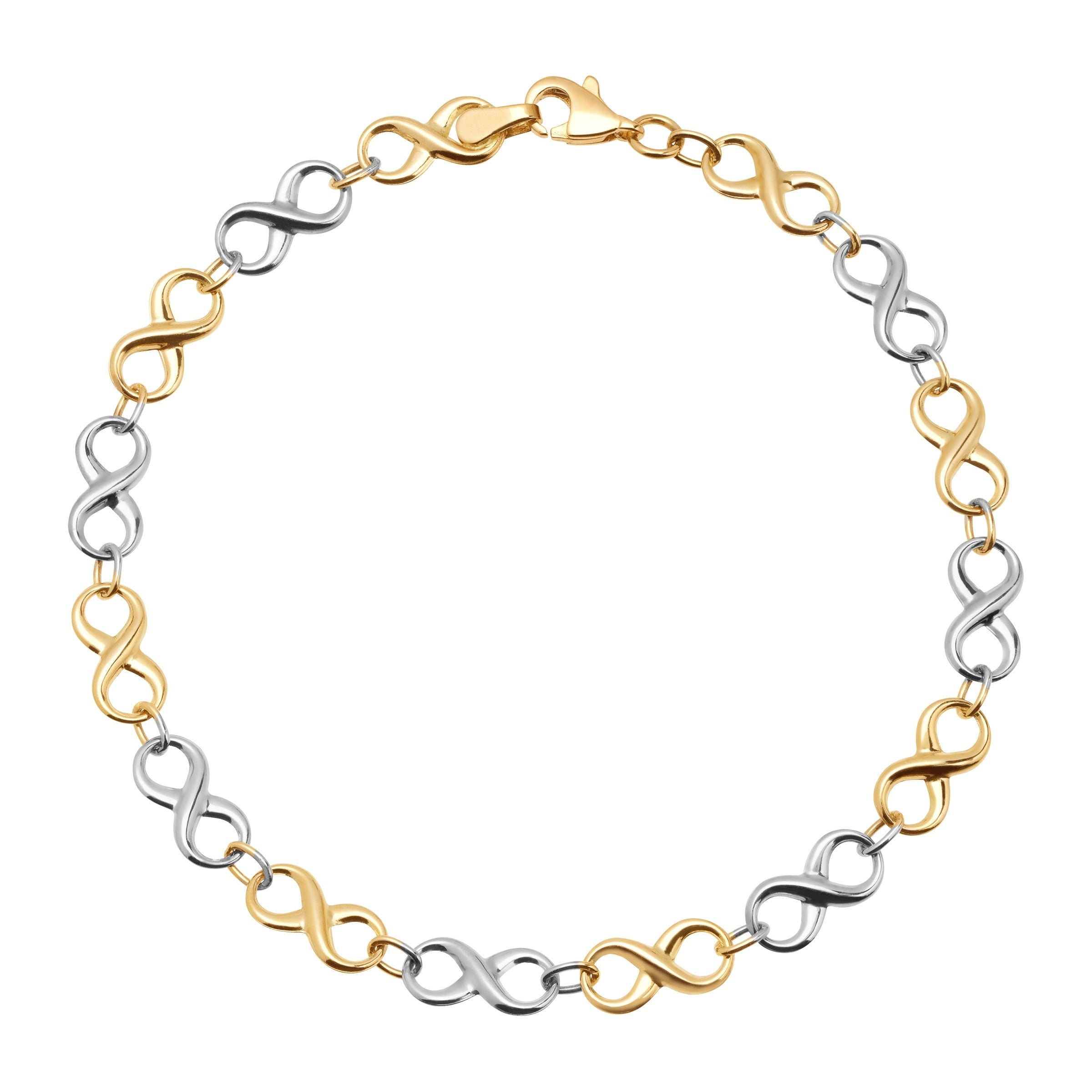 Eternity Gold Infinity Link Bracelet In 14k White Yellow Two Tone