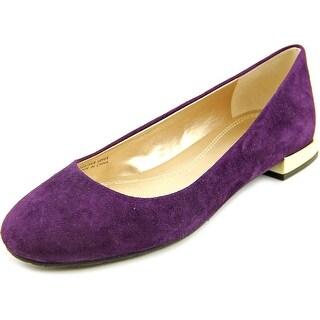 Tahari Ranma Women Round Toe Suede Purple Flats