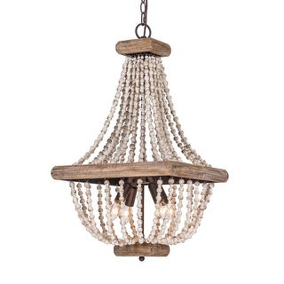 Farmhouse Beaded Basket Weathered Wood 4-Light Chandelier