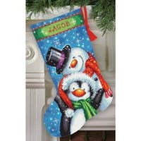 """Polar Pals Stocking Needlepoint Kit-16"""" Long Stitched In Thread"""
