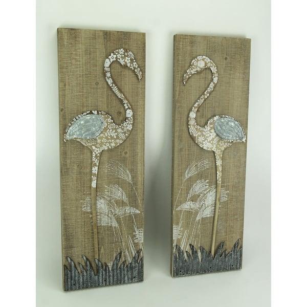 Rustic Fl Flamingo 2 Piece Wood