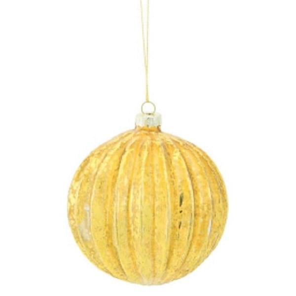 "3.5"" Amber Gold Rib Striped Mercury Glass Ball Christmas Ornament"