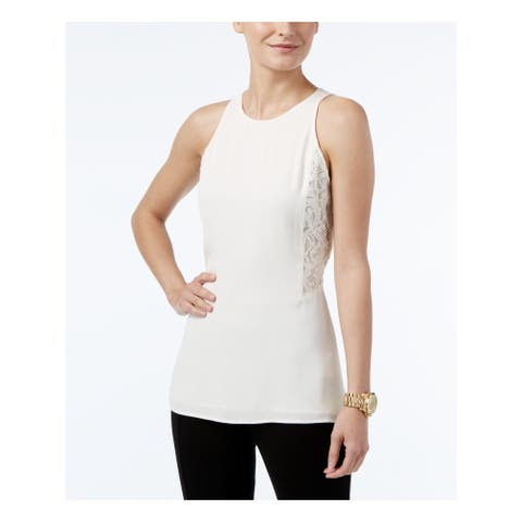 MICHAEL KORS Womens Ivory Sleeveless Jewel Neck Hi-Lo Top Size S