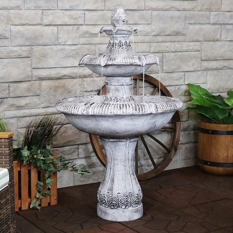 Sunnydaze Mediterranean-Inspired 3-Tier Outdoor Water Fountain - Gray - 50-Inch