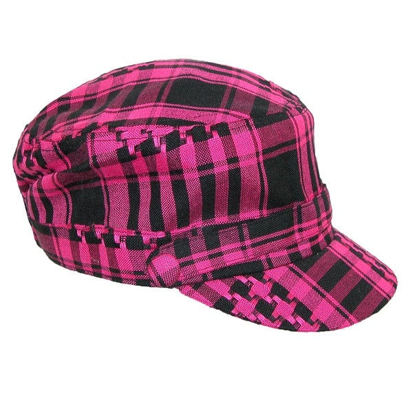 CTM® Women's Houndstooth Plaid Fashion Military Cadet Cap