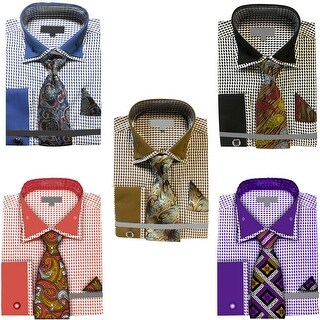 Men's Houndstooth Dress Shirt French Cuffs Tie Hanky Cufflinks